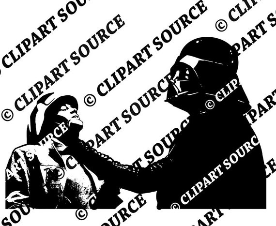 Clip art star wars darth vader force choke jedi silhouette file scrapbooking file
