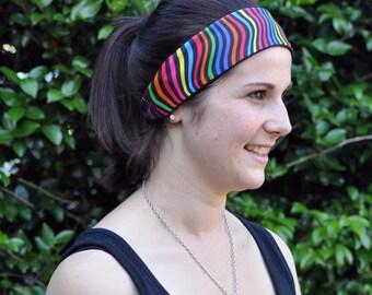 Yoga headband, Striped headband, groovy headband, workout headband, fun headband, ladies headband, stretchy headband, funky headband, sports