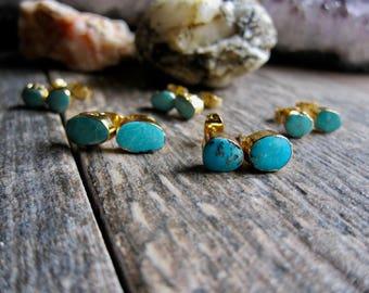 Turquoise Earrings Stud,Genuine Turquoise Studs,Turquoise Stud Earrings,Turquoise Earrings,Studs,Turquoise,Gold Turquoise Earrings,Gold Stud