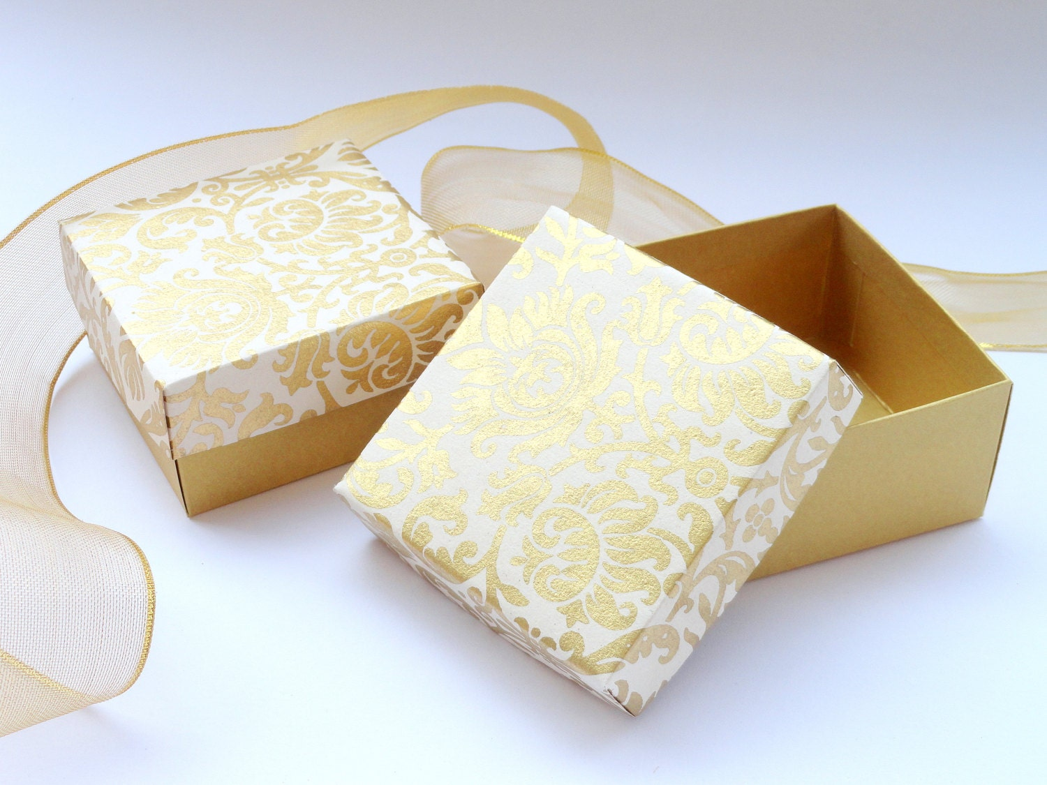 100 boxes in Gold Damask Print on Ivory 3 x 3 x 1.5 inch Wedding ...
