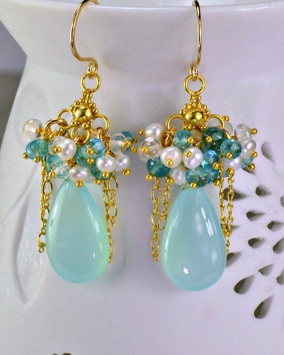 Aqua Chalcedony Apatite Chandelier Earrings 14k Gold Filled