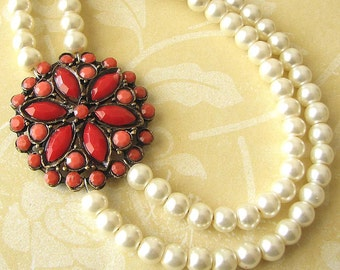 Coral Jewelry Statement Necklace Red Coral Necklace Pearl Necklace Multi Strand Necklace Gift for Women