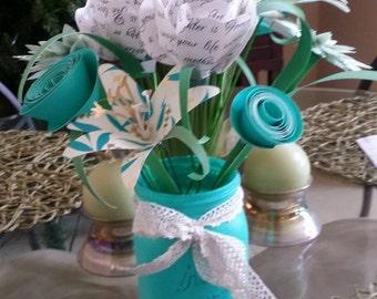 Teal Paper Flower Centerpiece