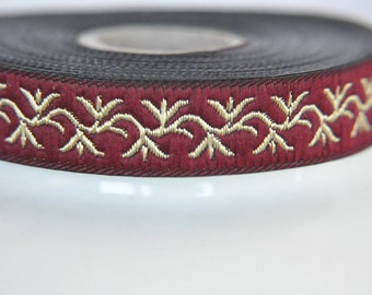 Burgundy Jacquard Ribbon with Gold leaves  15mm ,trim flower , Embroidered border, patterned trim,Commercial Supply
