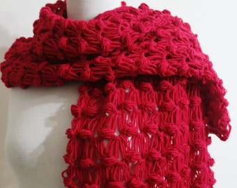 Red Shawl Women Shawl Scarf / Crochet Shawl, Bridesmaid Stole, Wrap
