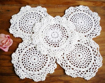 White Wedding Crochet Lace Dollies Shabby Chic Home Decor Price For 5 Rustic Wedding Dollies for Crafting