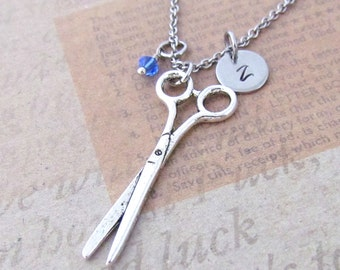 Scissors Charm Necklace, Personalized Antique Silver Hand Stamped Initial Birthstone Monogram Scissor Charm Necklace