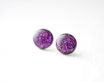 Purple Glitter Stud Earrings - BUY 2 GET 1 FREE