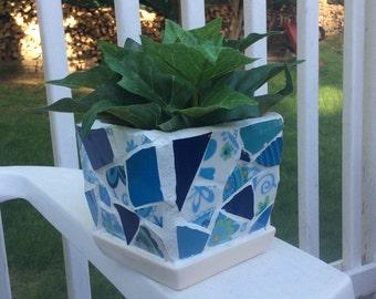 Pretty Blue Mosaic Planter