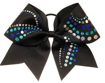 Black and Blue Jewels Cheer Hair Bow
