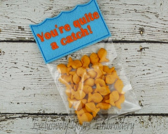 You're Quite a Catch Valentine - Treat Bag - Party Favor - Class Gift - Gift Bag - Candy Bag - Favor Bag - Seasonal Gift - Party Supplies