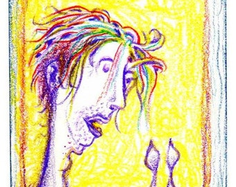 Listening to Radiohead - Original Drawing (ACEO collectible miniature art)