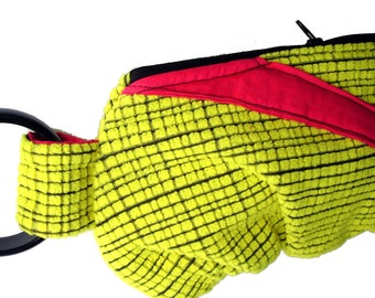 Totally 80's Hot Pink, Yellow, and Black Bracelet Purse