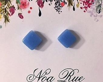 Sky Blue Stone 10mm Stud Earrings