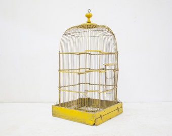 Beautiful French Yellow Antique Birdcage