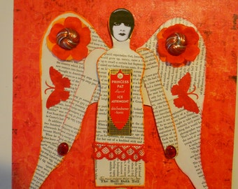 Mixed media collage art winged woman paper recycled upcycled red vintage found objects