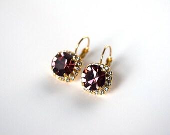 Light Purple Rhinestone Earrings, Georgian Paste, Amethyst Crystal Earring, 18th Century Earrings, Regency Jewelry, Rococo, 19th Century
