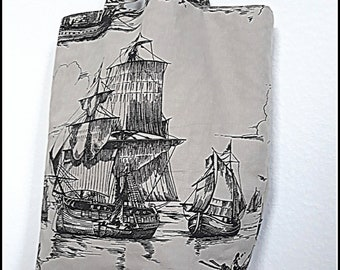 Sailboats Tote black and grey