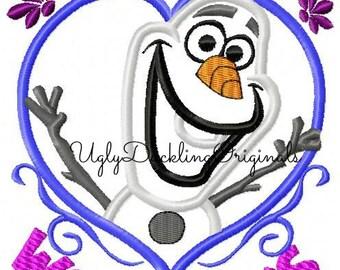Olaf Applique Design Frozen Snowman Valentine Warm Hugs Machine Embroidery Digital Download