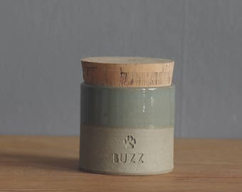 pet urn. straight shaped urn with optional paw print stamp. modern urn for ashes. dog urn. ice blue on sand stoneware shown