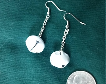White and silver jingle bell earrings