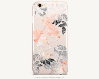 iPhone 8 Case iPhone X Case iPhone 7 Case Blush Rose Clear GRIP Rubber Case iPhone 7 Plus Clear Case iPhone SE Case Samsung S8 Plus Case 282