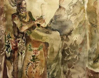 Baldr's Dream Original Painting Norse Mythology Loki Prophecy Captive Captured Mask Serpent Gold Chalice Ambrosia Arrow Yggdrasil Viking Art