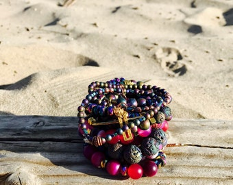 Multicolored beaded bracelet, stretch bracelet, stack bracelet, gemstone, bohemian bracelet, bead bracelet, jewerly, bracelet for women,
