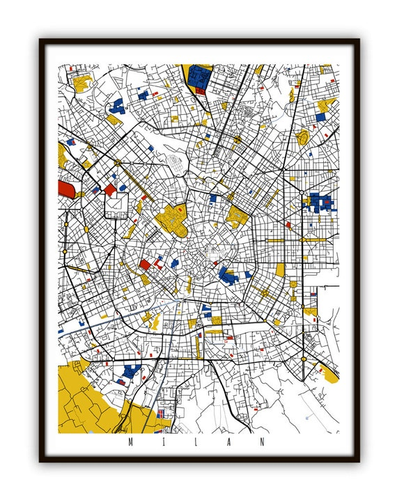 Milan Map Art Milan Italy Wall Art Print Poster