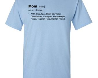 Mom Definition Funny Mens Adult T-shirt 100% Cotton Light Blue