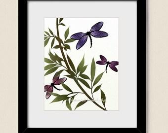 Insect Art 8 x 10 Custom Print, Dragonfly Wall Decor, Green Foliage. Watercolor Art, Purple, Nature Print