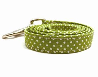 Green polka dot dog leash - Polka dots pet lead - Green&white leash - Green and white polka-dotted leash