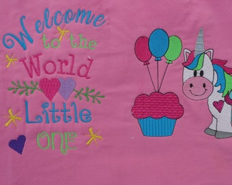 Welcome to the World Little One Unicorn Set with Hearts