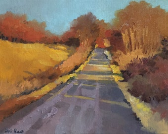 "SALE 35% off - Original Oil Landscape painting-  Sunny Roadside -   9"" x 12"", small artwork"