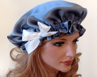 Silk Sleep Bonnet, Smoky Blue Charmeuse, Fully Adjustable Bow Drawstring Attached to Gentle Elastic, Reversible Sleep Cap for Hair Care