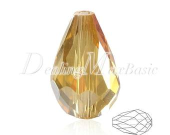 50Pcs 10x15mm Light Topaz AB Teardrop Crystal Beads Center Drilled 1.5mm DIY Jewelry CR0383-43