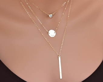 Gold Layered Necklace -  layered Necklace Set - Three Layered Necklace - CZ Necklace - Disc Necklace -  Bar necklace - Layered and long
