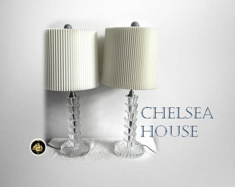 Chelsea House PAIR of crystal fountain lamps with shades