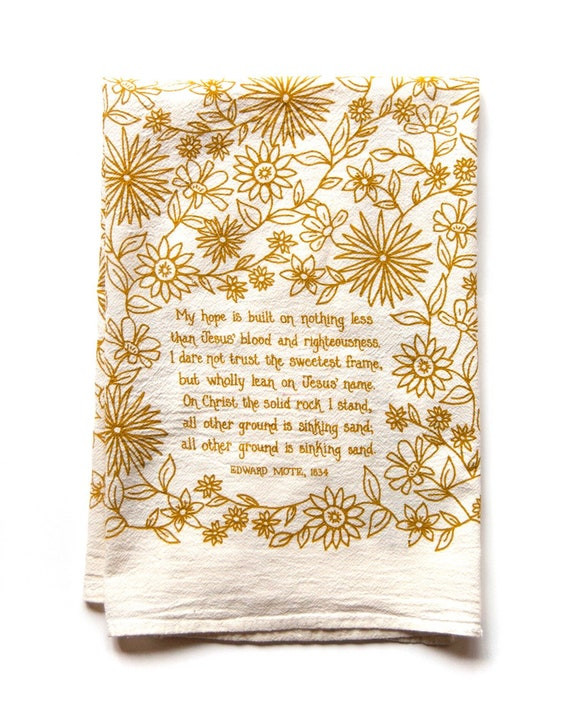 Hymn Tea Towel My Hope is Built Christian wall art gift for