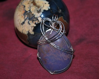 AZ Burro Creek purple Jasper in a sterling silver wire wrap.