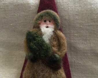 Needle Felted Santa On Cone Shaped Christmas Ornament