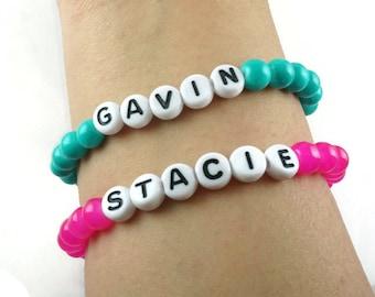 Personalized Bracelets,Mom & Me Bracelet,Kid Bracelet,Party Favor Name bracelet,Childrens Name Bracelet,Back to School, Pink Blue Bracelets