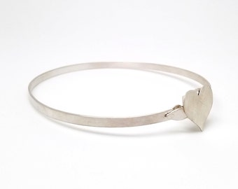 Discreet Slave Collar Locking Sterling Silver Satin Finish Heart Slave Collar 5mm Band Exclusive Mockingbird Lane Wire Locking Clasp