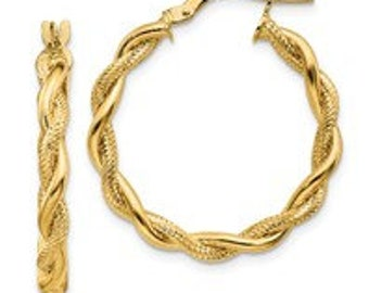 14k Polished Textured Twisted Hoops White Gold or Yellow gold