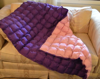 Pink and purple puff blanket and matching pillowcase for child