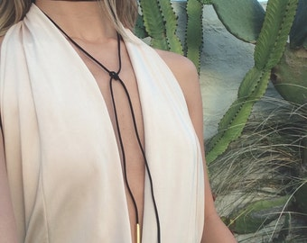 Suede Leather Wrap Tie Necklace 'RHEA'