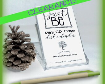 """CLEARANCE 2018 MINI Desktop Calendar on Recycled Paper, Mini CD Case, """"Just Be,"""" Hand-Lettered & Doodled Inspirational Fun Eco-Friendly Art"""
