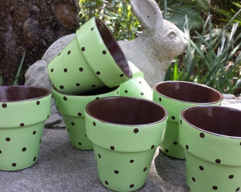Baby Shower Favors - Polka Dot Pots - Painted Flower Pots - Small Favor Size