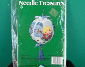 Needle Treasures Counted Cross Stitch Sleigh Ride Ball Christmas Ornament