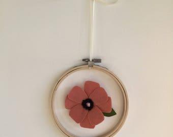 Decorative wall hoop baby/toddler felt flower